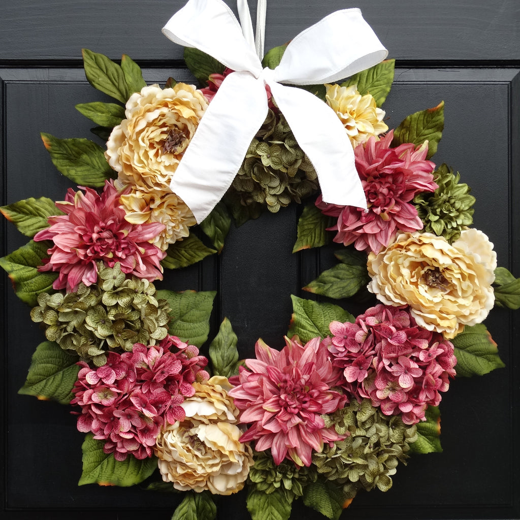 Spring Front Door Wreath With Artificial Hydrangeas, Dahlias And Peonies;  Pink / Cream / Green