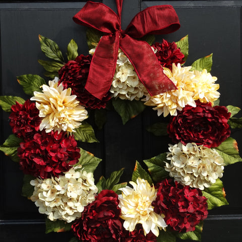 24 Inch Large Holiday Wreath with Burgundy Red and Cream Hydrangeas, Peonies and Dahlias