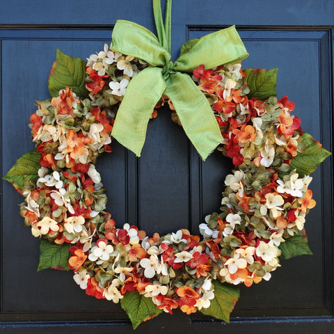 Marbled Hydrangea Summer / Fall Wreath