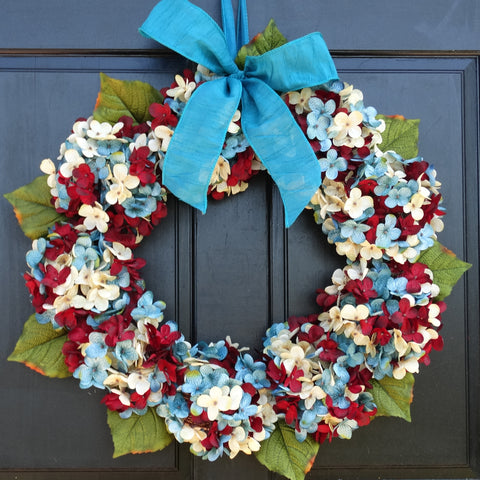 Marbled Hydrangea Patriotic Wreath