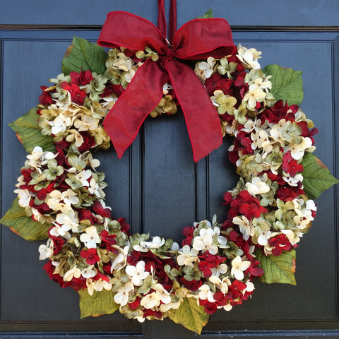 Marbled Hydrangea Christmas Wreath