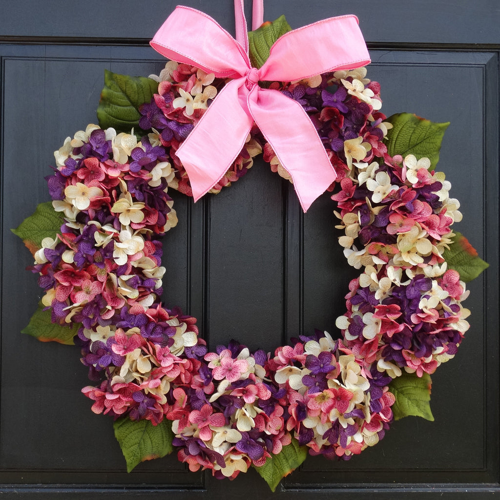 Easter Front Door Wreath with Marbled Purple, Cream and Pink Faux Hydr
