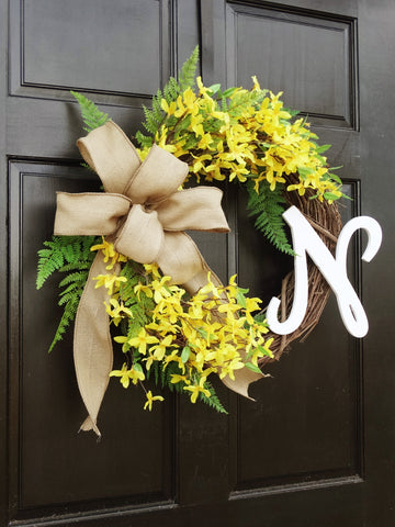 Personalized Yellow Forsythia Wreath with Monogram Initial and Burlap Bow
