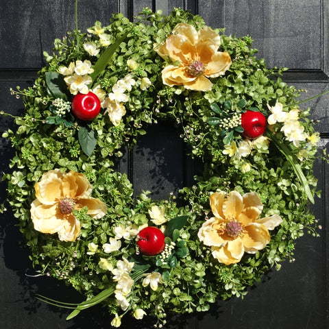 Boxwood and Eucalyptus Wreath with Red Apples, Cream Magnolias and Small Floral and Berry Accents; 22 Inch