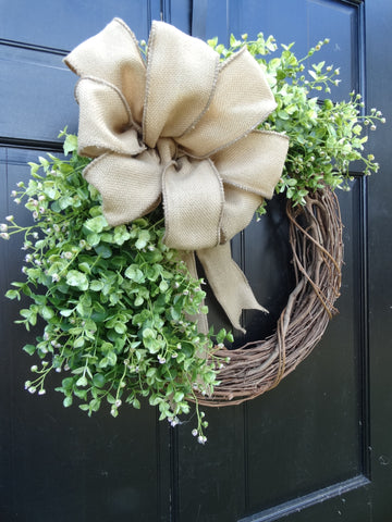 Eucalyptus Grapevine Wreath with Burlap Bow