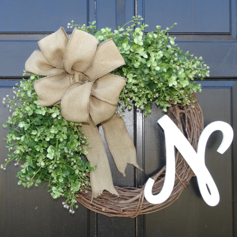 Personalized Eucalyptus Farmhouse Wreath with Monogram Initial and Burlap Bow