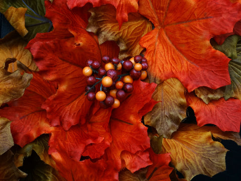 Bright Orange, Olive Green and Red Fall Leaves Wreath with Berries; ; 22-24 Inch
