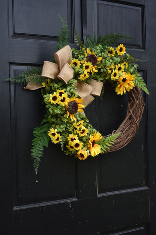 Boxwood and Sunflower Wreath with Green Ferns and Burlap Bow