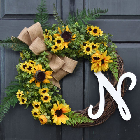 Personalized Boxwood and Sunflower Wreath with Green Ferns and Monogram Initial