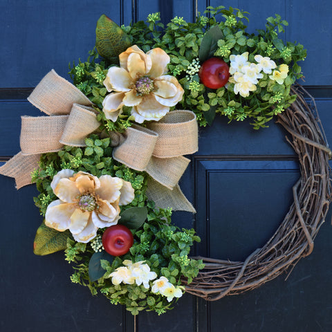 Magnolia, Apple and Boxwood Grapevine Wreath with Yellow Floral Accents and Burlap Bow