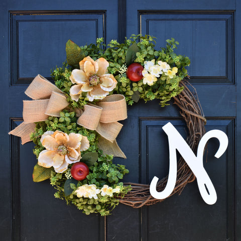 Boxwood, Apple & Magnolia Monogram Wreath with Personalized Initial and Burlap Bow