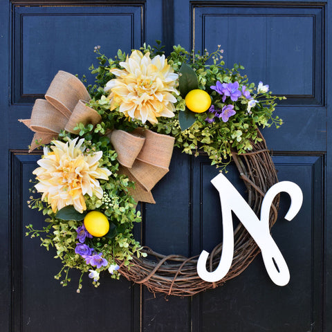 Lemon, Dahlia and Eucalyptus Monogram Wreath with Personalized Initial, Purple Floral Accents and Burlap Bow