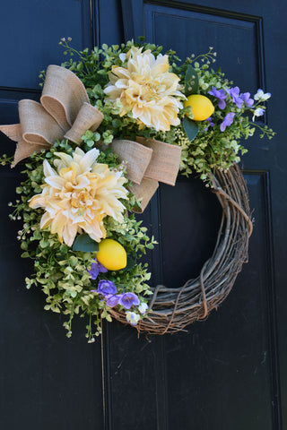 Eucalyptus, Lemon and Dahlia Grapevine Wreath with Purple Floral Accents and Burlap Bow