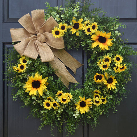 Sunflower, Eucalyptus and Mixed Greenery Wreath with Burlap Bow; 24 Inch