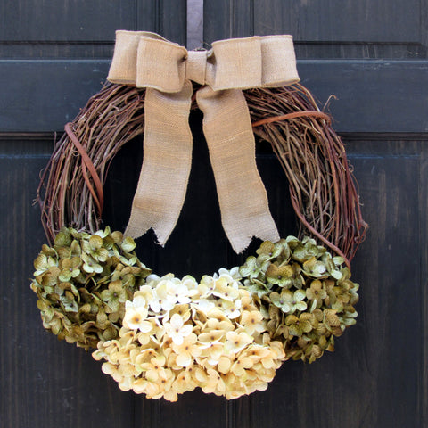 Green and Cream Hydrangea Grapevine Wreath