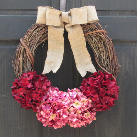 Hydrangea Grapevine Valentines Day Wreath