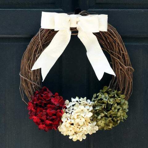 Hydrangea Grapevine Christmas Wreath