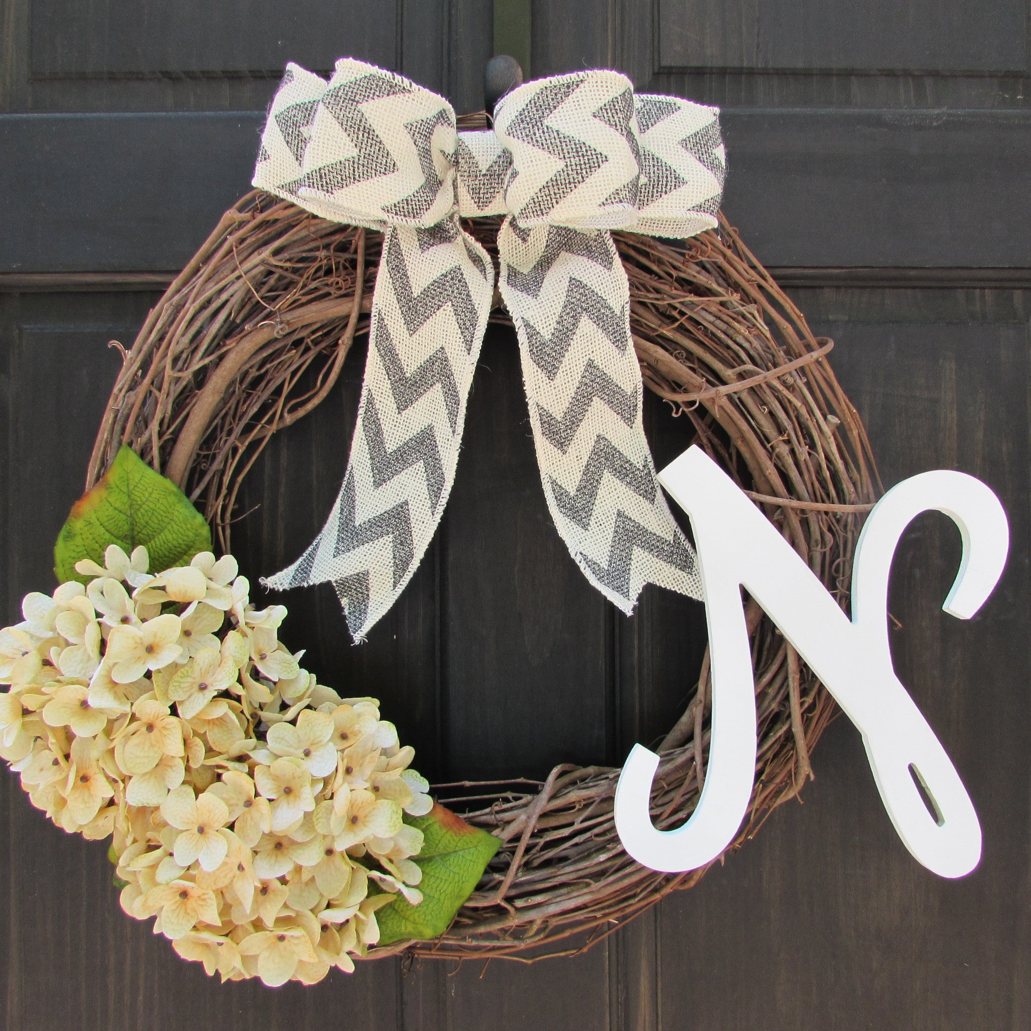 Front door decor for all seasons - Cream Hydrangea Wreath With Monogram Initial Wreath For Year Round Front Door Decor All Season Monogram Wreath Personalized Wreath
