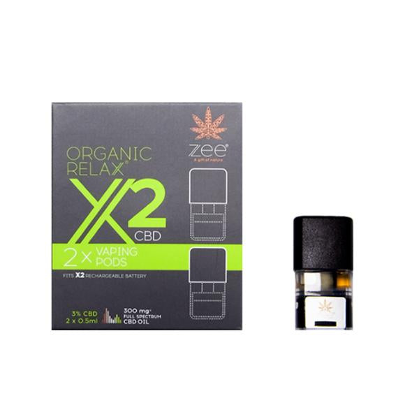 Zee Organic Relax X2 CBD Replacement Pods 300mg CBD* Hodges E-Liquid