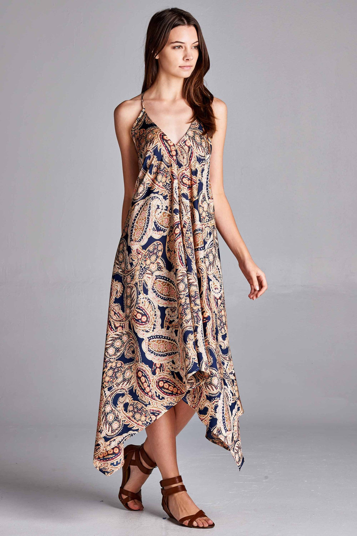 Hi-Low Paisley Cross Strap Dress
