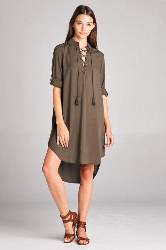 m.a.s.h. Tasseled Dress - Olive