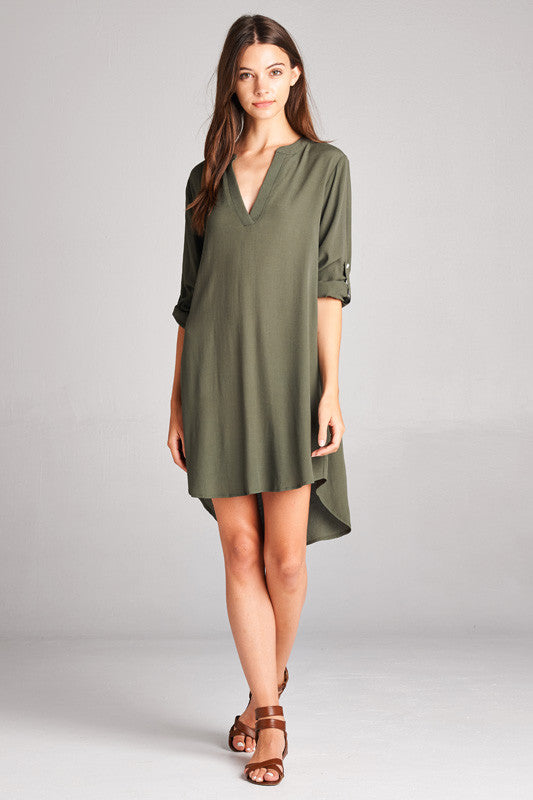 Sleek Olive Shirtdress