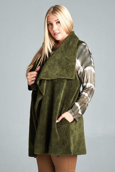 Shear as a Sherpa Vest- Forest Green