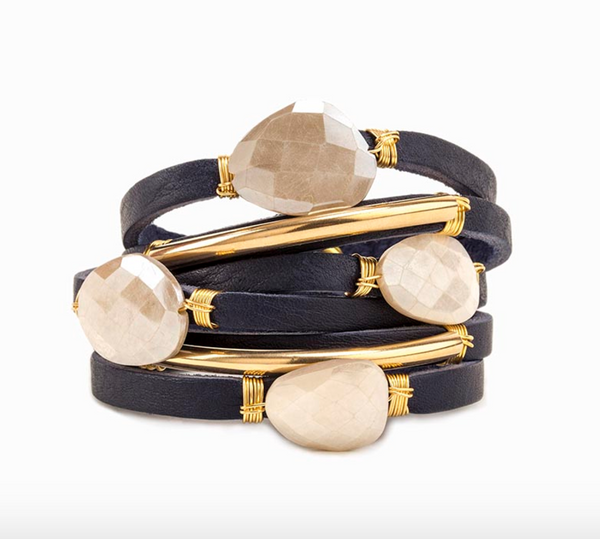 Palmiro Navy Leather Wrap Bracelet