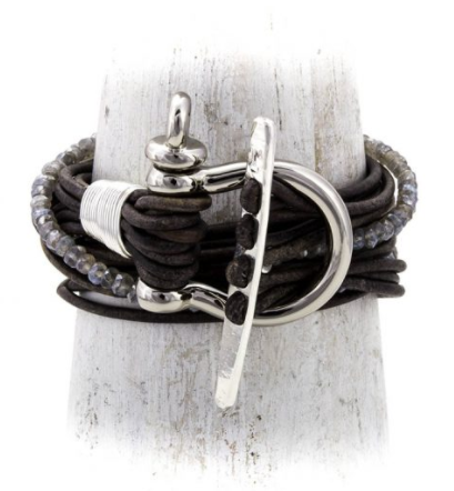 TNKA Gray Leather Cord Wrap Bracelet