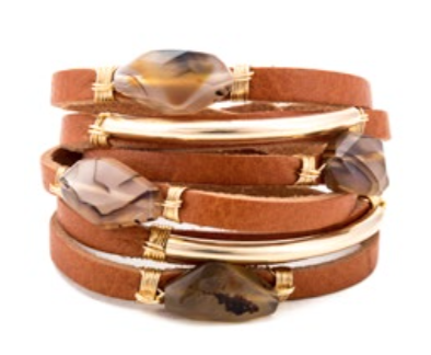 Agate Finder Horween Leather Shred Bracelet