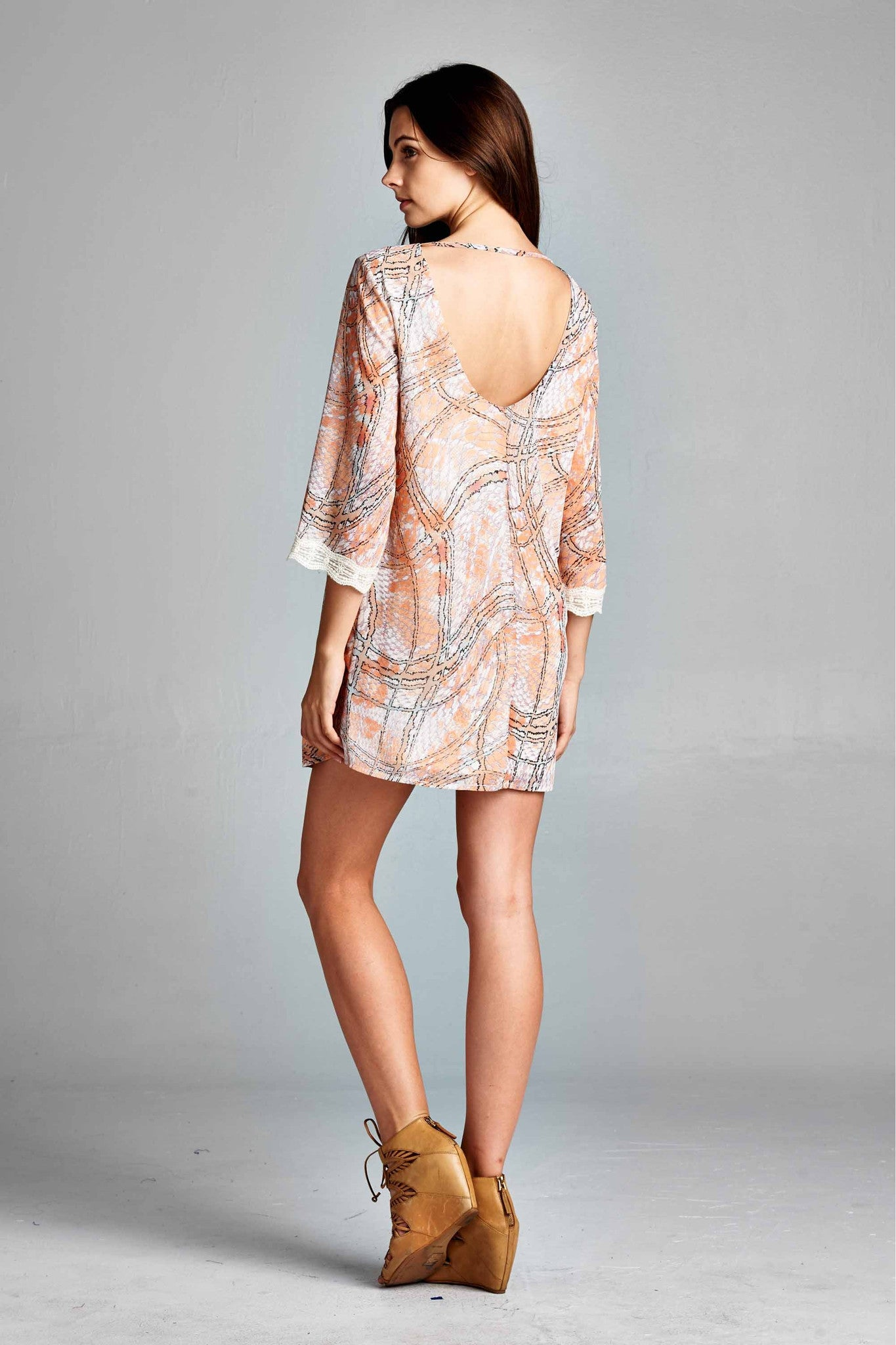 3/4 Sleeve Lace Edge Coral & Cream Dress
