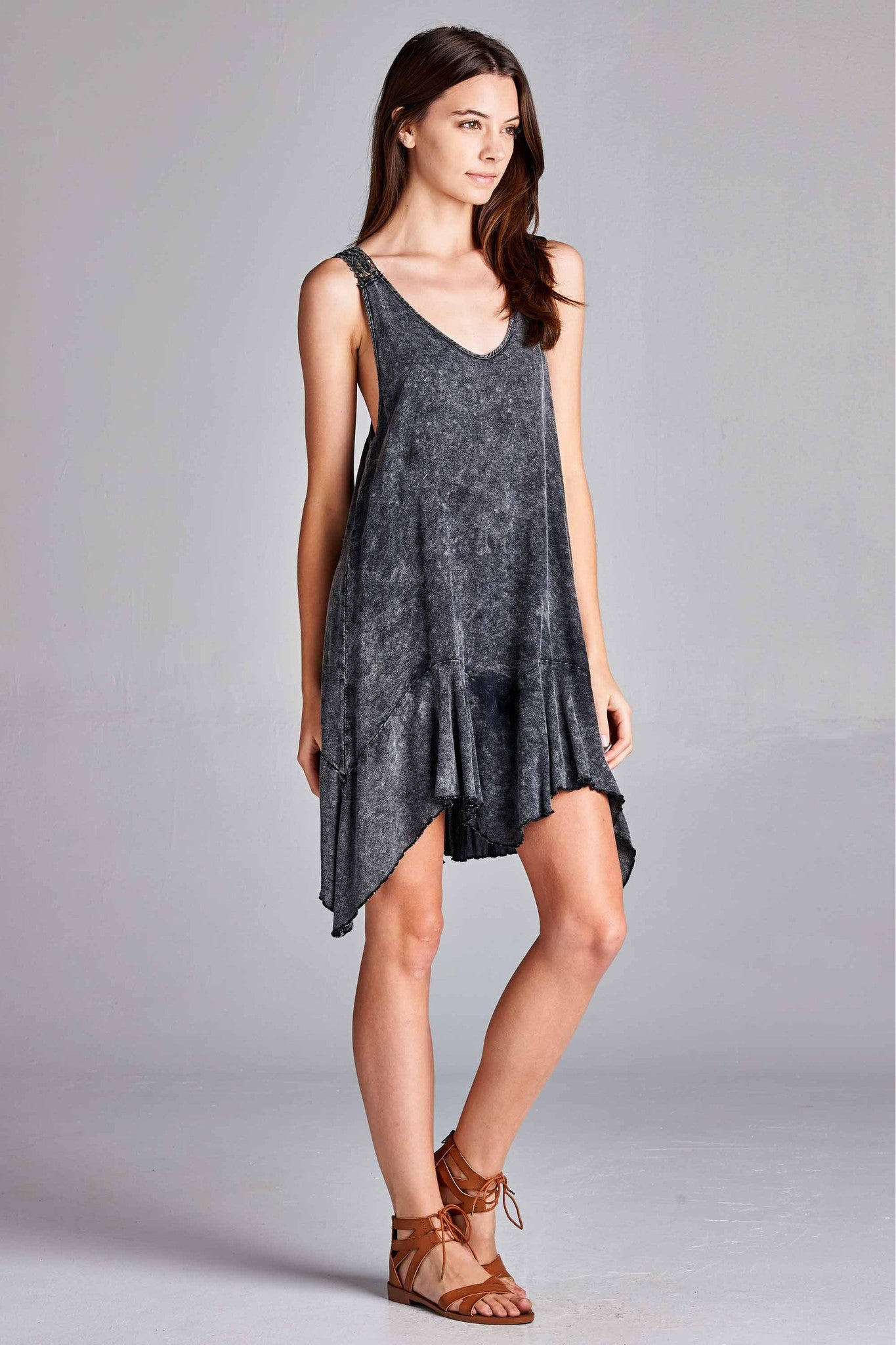 Mineral Wash Lace Panel Dress - Graphite