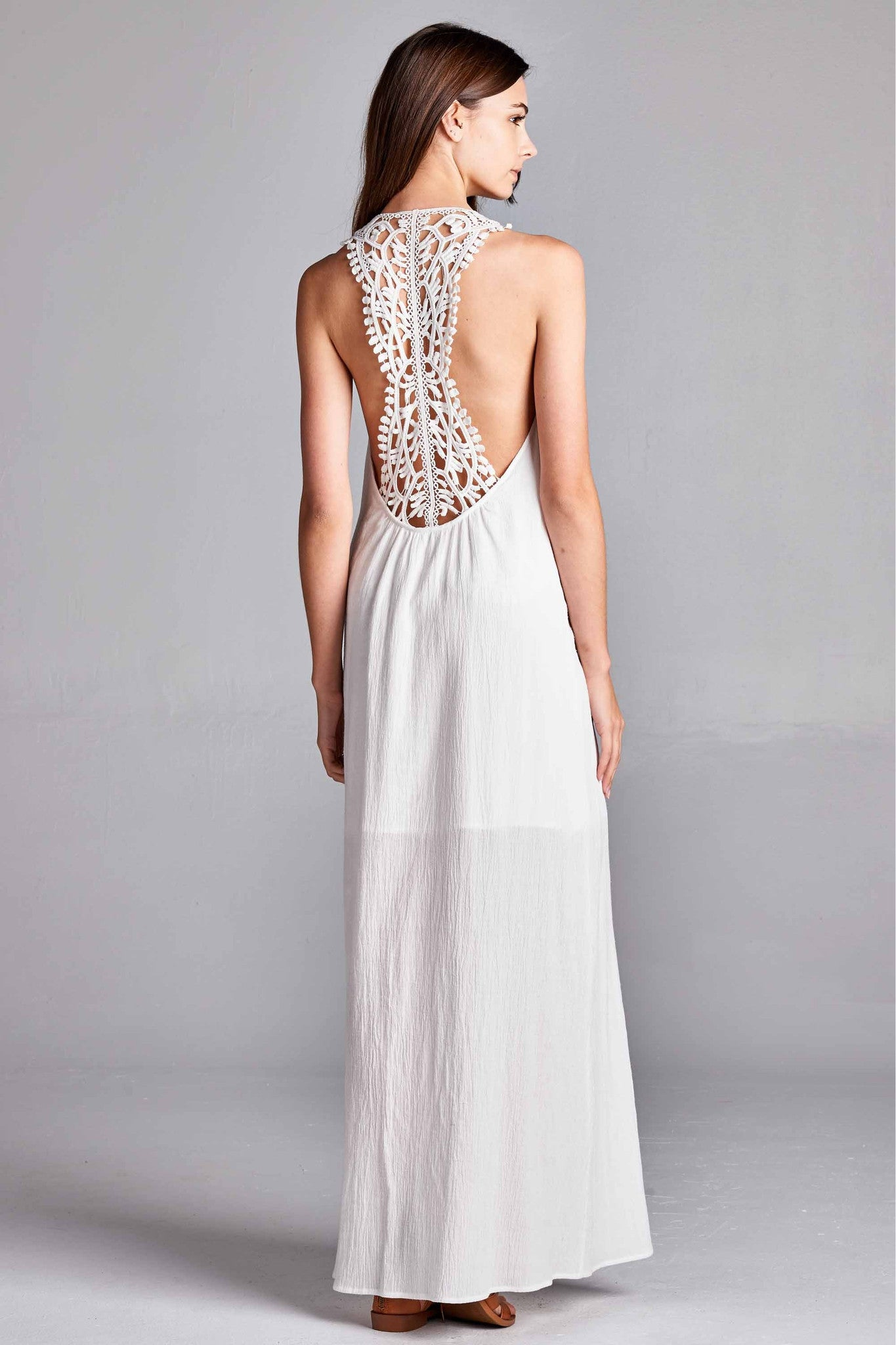 Back Lace Panel Woven Maxi - White