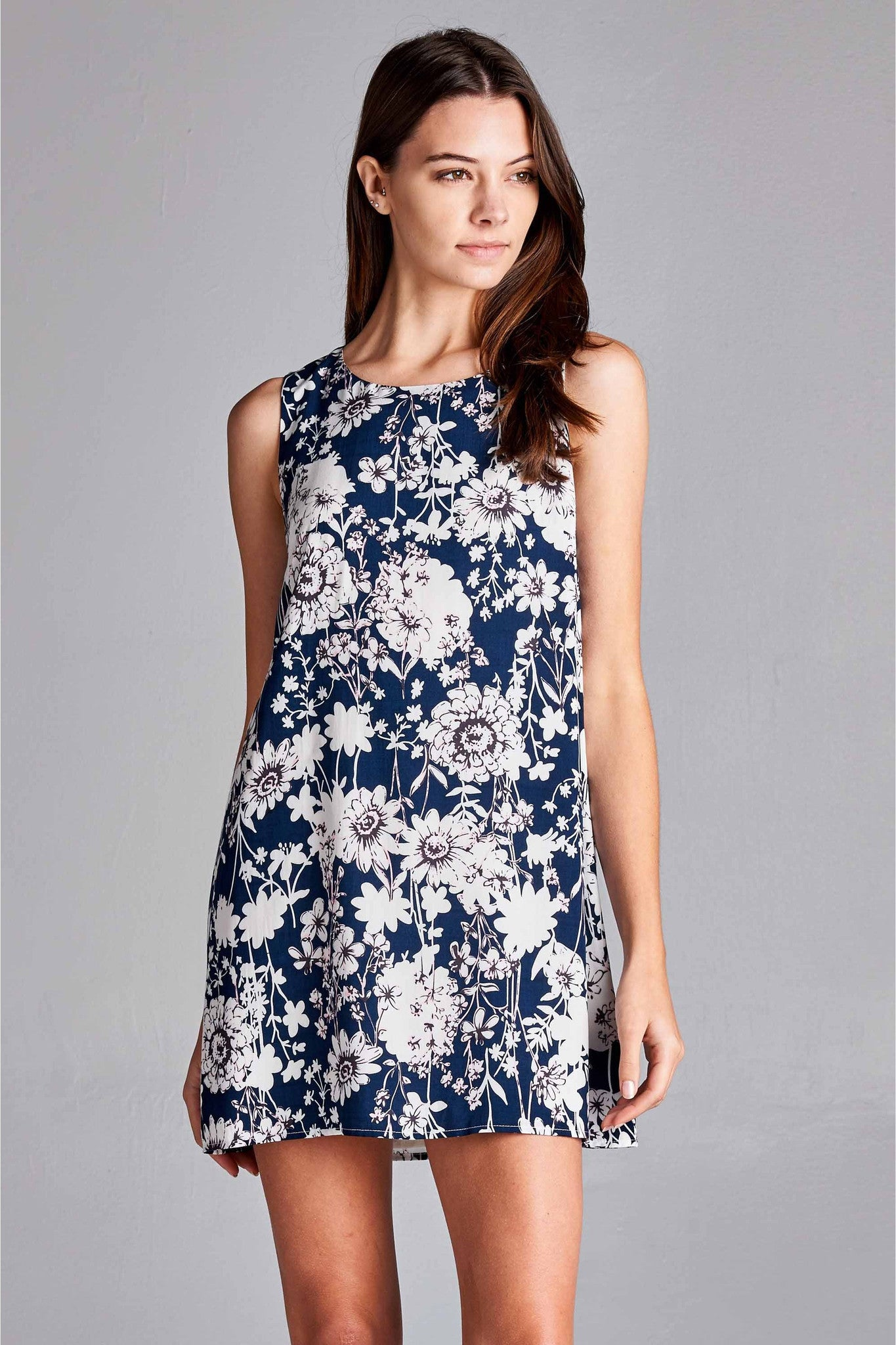 Floral Garden Dress - Navy Pink & White