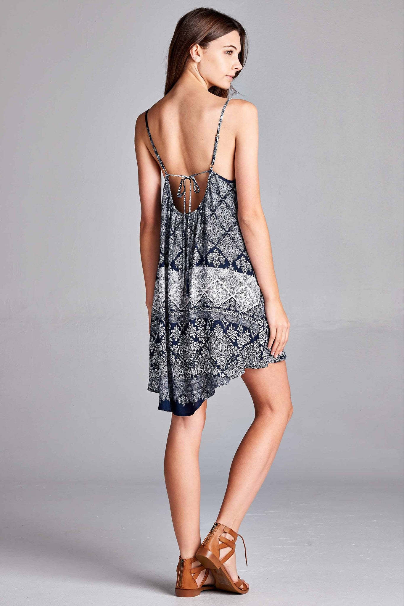 Medallion Print Sundress - Navy & White