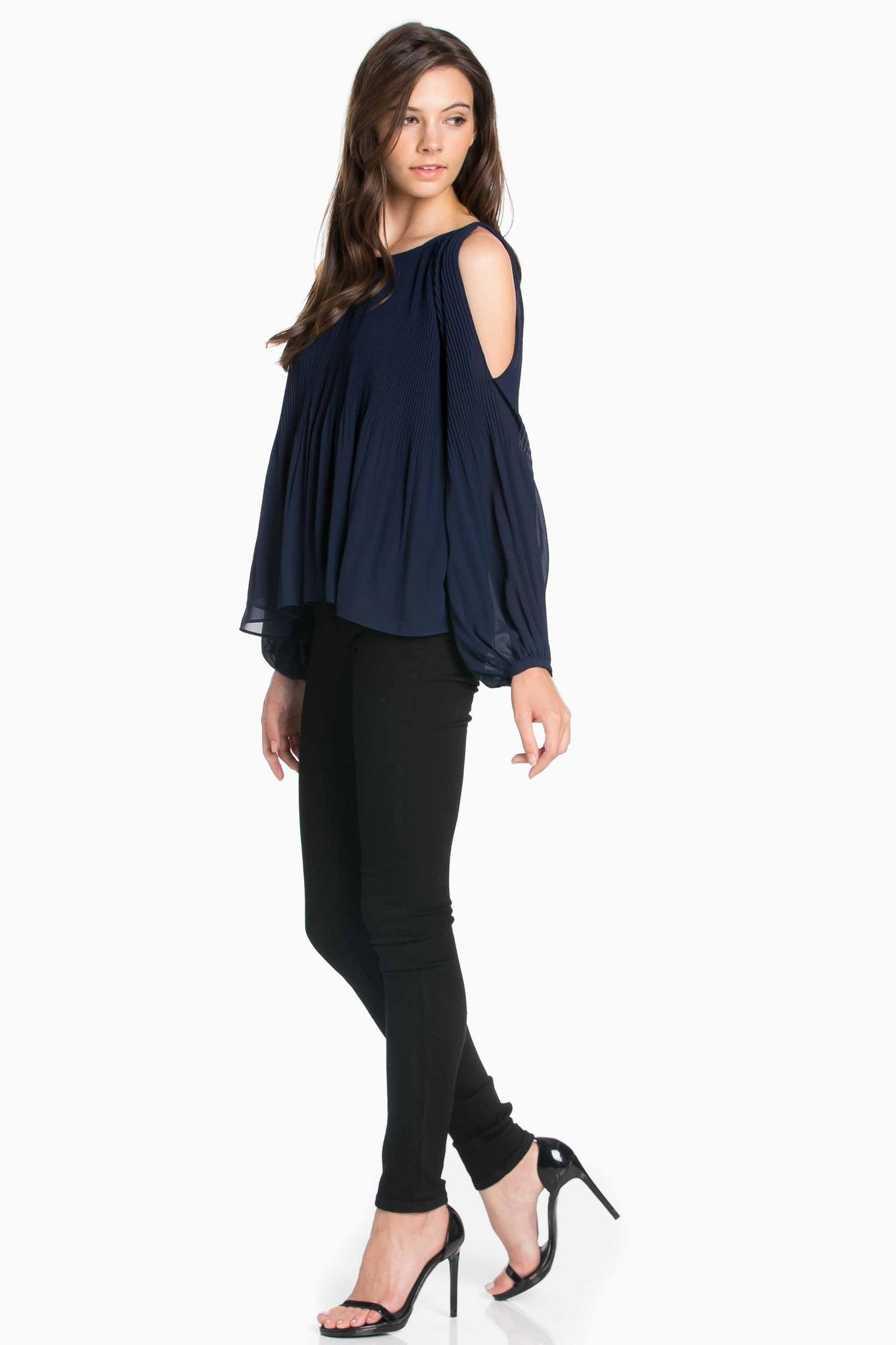Pleated Shoulder Blouse- Vanilla
