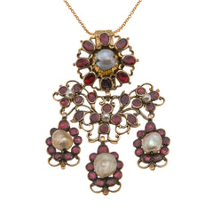 Crimson Grandeur   -  Georgian 18th Century 14K Rose Gold Almandine Garnet & Natural Pearl Girandole Pendant (GP006)