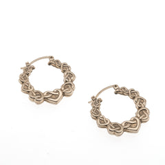 Celtic Lovers Knot - Vintage 9K Gold Heart Creole Hoop Earrings (VE133)