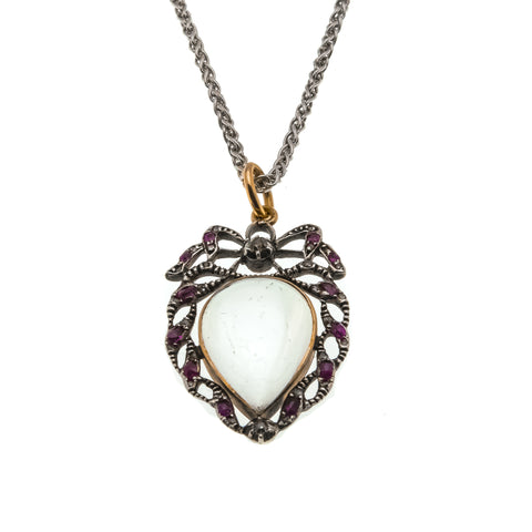 Beloved - Georgian 18th Century 18K Gold, Sterling Silver Diamond & Ruby Rock Crystal Heart Locket (GP007)