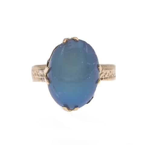 Colour Symphony - Victorian 15K Opal Solitaire Engraved Ring (VICR128)