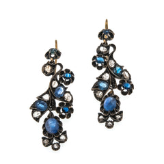Jewelled Cascade - Georgian Russian 18K Gold, Sterling Silver Diamond & Sapphire Earrings ( GE011)