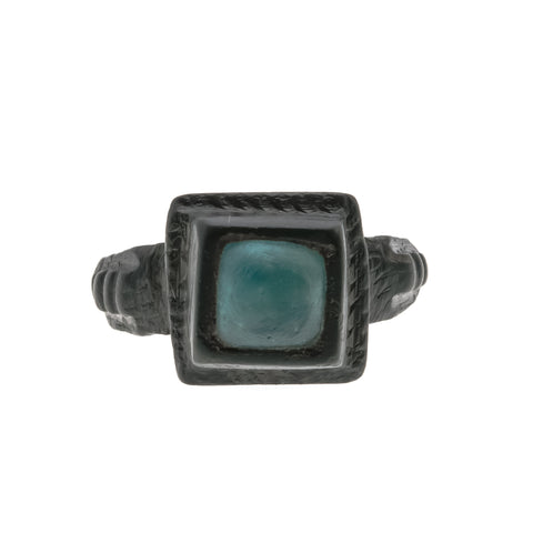 Azure Sky - Medieval Tudor 15th - 17th Century Bronze Blue Glass Gem Ring (PGR085)