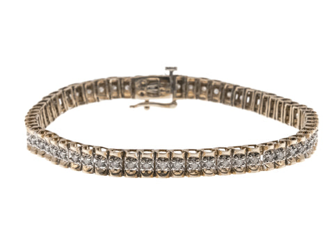 Adorn - Vintage 9K Yellow & White Gold Diamond Tennis Bracelet (VB034)