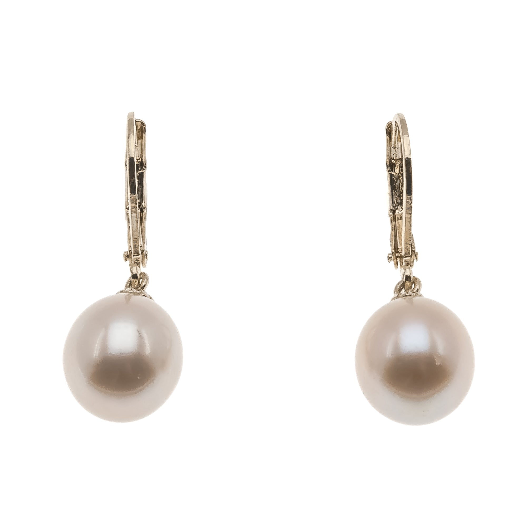 Lustrous -  Vintage 14K Gold Cultured South Sea Champagne Pearl Earrings (VE124)