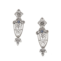 Ethereal Beauties - Edwardian 14K White Gold Diamond & Ceylon Sapphire Filigree Urn Earrings (EDE012)