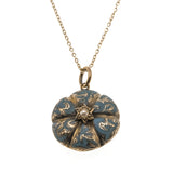 Enamelled Beauty - Victorian 14K Gold Blue Enamel & Pearl Glass Locket (VICR076)