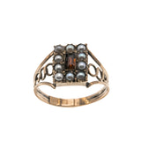 Mansfield Park - Georgian 15K Rose Gold Garnet & Pearl Ring (GR023)