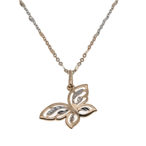 Bella  - Vintage 10K Tri - Gold Butterfly Pendant & Chain (VP052)