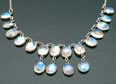 Ethereal & Mystical - Edwardian Sterling Silver Moonstone Waterfall Necklace (EDN017)