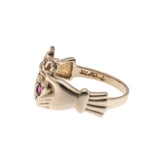 A Ghrá - Vintage 14K Gold Ruby Claddagh Ring (VR478)